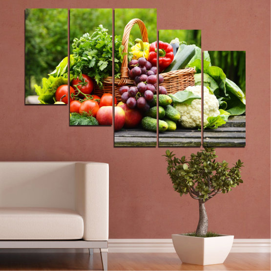 Canvas prints & wall decorative panels - 5 pieces №0020 » Green, Black, Gray, Beige » Culinary, Still life, Fruits, Vegetables Form #7