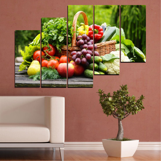 Canvas prints & wall decorative panels - 5 pieces №0020 » Green, Black, Gray, Beige » Culinary, Still life, Fruits, Vegetables Form #8