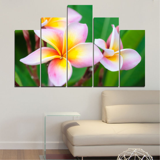 Canvas prints & wall decorative panels - 5 pieces №0201 » Green, Yellow, Brown, Gray, White, Beige, Milky pink » Flowers, Bouquet, Plumeria Form #5