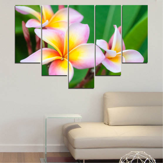 Canvas prints & wall decorative panels - 5 pieces №0201 » Green, Yellow, Brown, Gray, White, Beige, Milky pink » Flowers, Bouquet, Plumeria Form #6