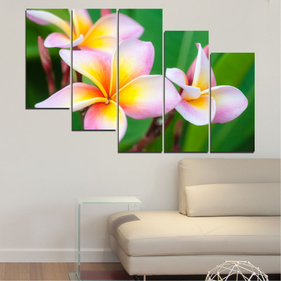 Canvas prints & wall decorative panels - 5 pieces №0201 » Green, Yellow, Brown, Gray, White, Beige, Milky pink » Flowers, Bouquet, Plumeria Form #7