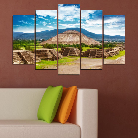 Canvas prints & wall decorative panels - 5 pieces №0203 » Blue, Turquoise, Green, Brown, Gray, White, Beige » Landscape, Landmark, Africa, Egypt, Pyramids Form #1