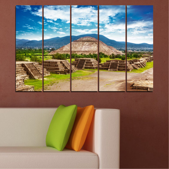 Canvas prints & wall decorative panels - 5 pieces №0203 » Blue, Turquoise, Green, Brown, Gray, White, Beige » Landscape, Landmark, Africa, Egypt, Pyramids Form #2