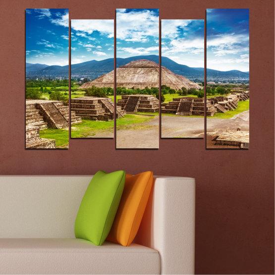 Декоративни панели и картини от канава - от 5 части №0203 » Син, Тюркоаз, Зелен, Кафяв, Сив, Бял, Бежов » Пейзаж, Забележителност, Африка, Пирамиди, Египед Form #3