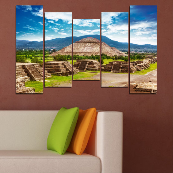 Canvas prints & wall decorative panels - 5 pieces №0203 » Blue, Turquoise, Green, Brown, Gray, White, Beige » Landscape, Landmark, Africa, Egypt, Pyramids Form #4
