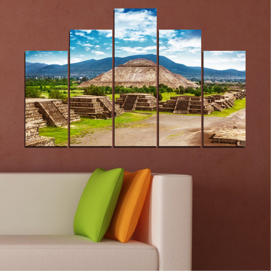Canvas prints & wall decorative panels - 5 pieces №0203 » Blue, Turquoise, Green, Brown, Gray, White, Beige » Landscape, Landmark, Africa, Pyramids, Egypt Form #5