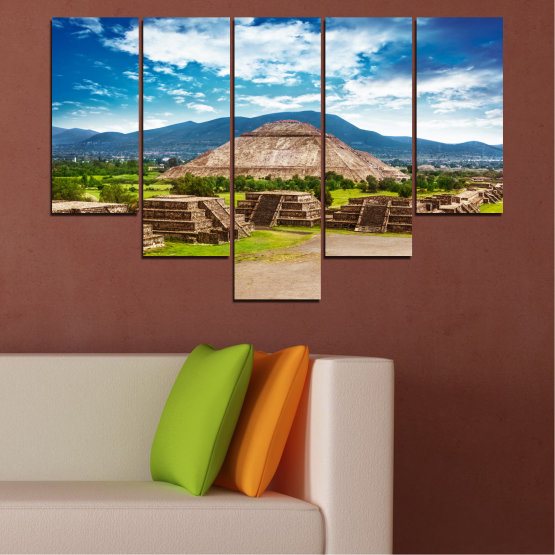 Canvas prints & wall decorative panels - 5 pieces №0203 » Blue, Turquoise, Green, Brown, Gray, White, Beige » Landscape, Landmark, Africa, Egypt, Pyramids Form #6