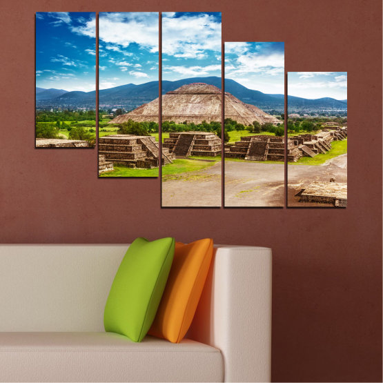 Canvas prints & wall decorative panels - 5 pieces №0203 » Blue, Turquoise, Green, Brown, Gray, White, Beige » Landscape, Landmark, Africa, Pyramids, Egypt Form #7