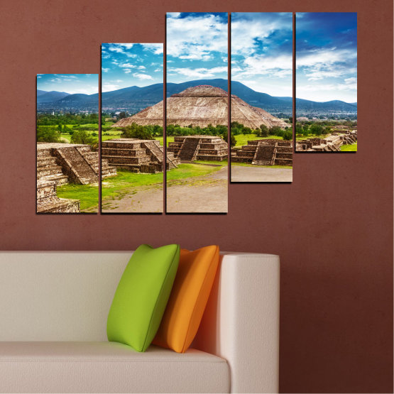 Canvas prints & wall decorative panels - 5 pieces №0203 » Blue, Turquoise, Green, Brown, Gray, White, Beige » Landscape, Landmark, Africa, Pyramids, Egypt Form #8