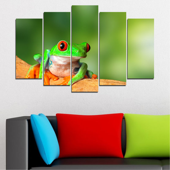 Canvas prints & wall decorative panels - 5 pieces №0204 » Green, Yellow, Orange, Beige » Animal, Frog, Reptile Form #1