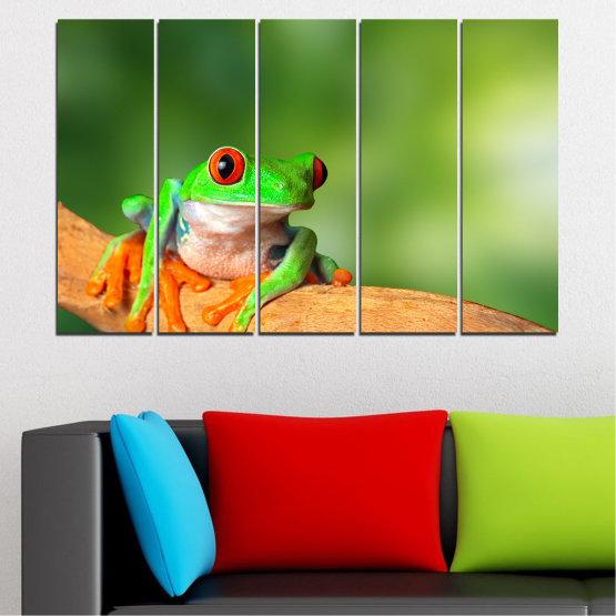 Декоративни панели и картини от канава - от 5 части №0204 » Зелен, Жълт, Оранжев, Бежов » Животни, Жаба, Влечуго Form #2