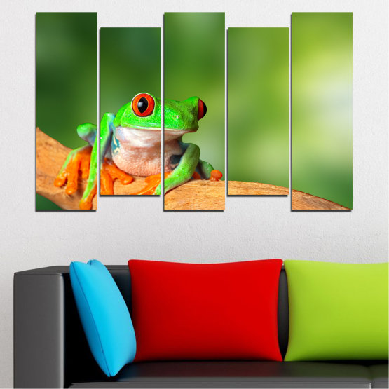Canvas prints & wall decorative panels - 5 pieces №0204 » Green, Yellow, Orange, Beige » Animal, Frog, Reptile Form #3