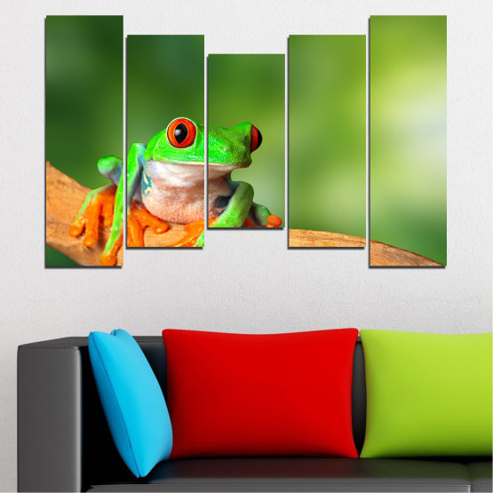 Canvas prints & wall decorative panels - 5 pieces №0204 » Green, Yellow, Orange, Beige » Animal, Frog, Reptile Form #4