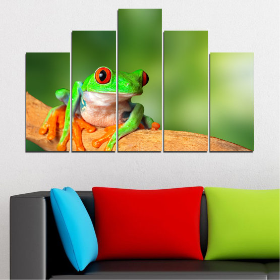 Canvas prints & wall decorative panels - 5 pieces №0204 » Green, Yellow, Orange, Beige » Animal, Frog, Reptile Form #5