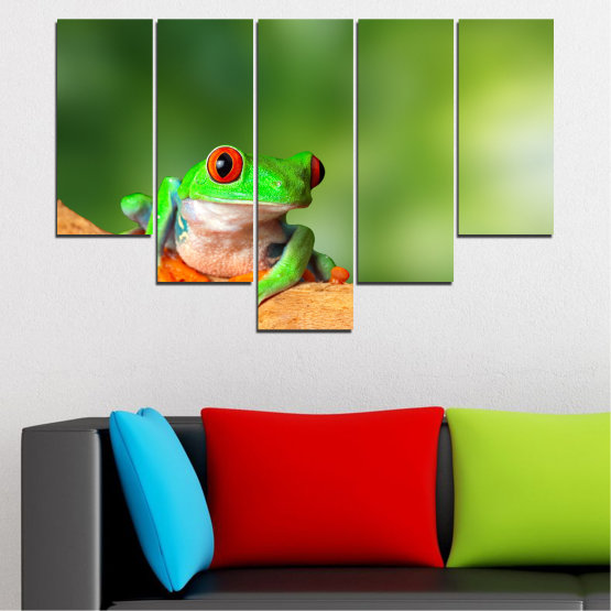 Canvas prints & wall decorative panels - 5 pieces №0204 » Green, Yellow, Orange, Beige » Animal, Frog, Reptile Form #6