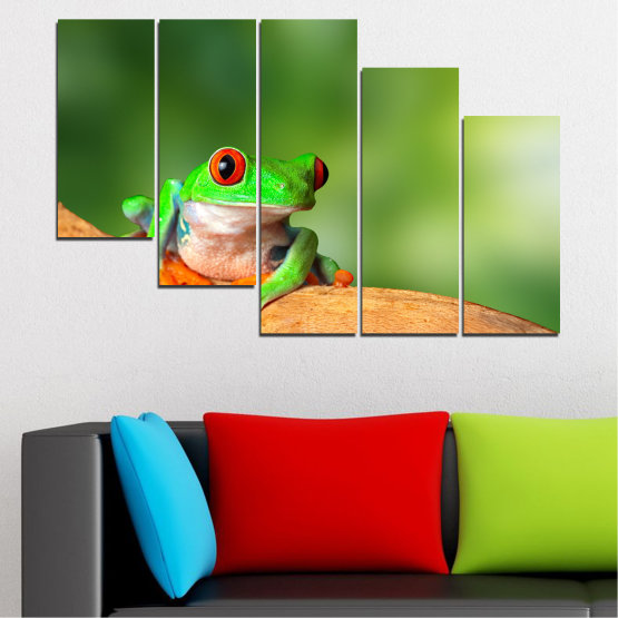 Canvas prints & wall decorative panels - 5 pieces №0204 » Green, Yellow, Orange, Beige » Animal, Frog, Reptile Form #7