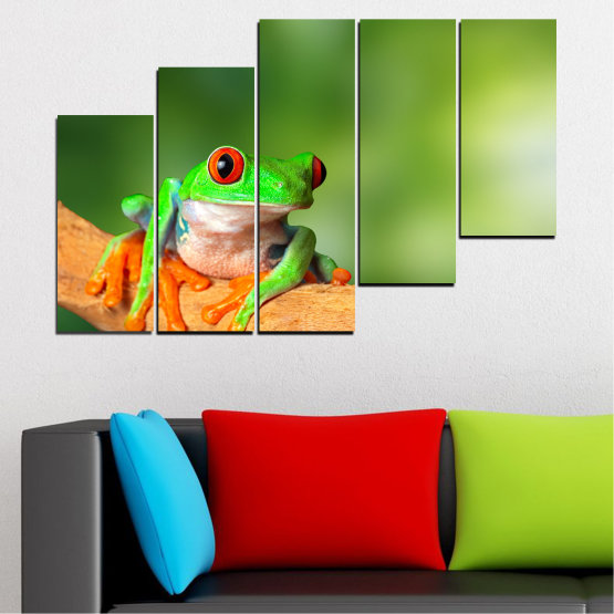 Canvas prints & wall decorative panels - 5 pieces №0204 » Green, Yellow, Orange, Beige » Animal, Frog, Reptile Form #8