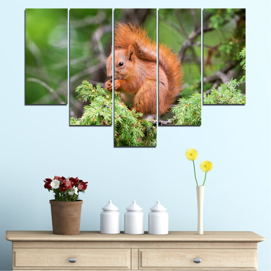 Canvas prints & wall decorative panels - 5 pieces №0205 » Green, Brown, Gray, Dark grey » Animal, Forest, Squirrel Form #6