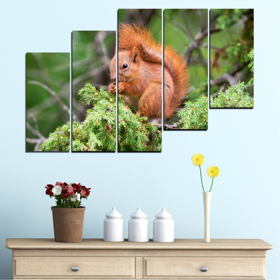 Canvas prints & wall decorative panels - 5 pieces №0205 » Green, Brown, Gray, Dark grey » Animal, Forest, Squirrel Form #8