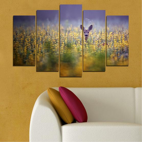 Canvas prints & wall decorative panels - 5 pieces №0206 » Purple, Green, Yellow, Brown, Gray, Dark grey » Animal, Meadow, Roe Form #1