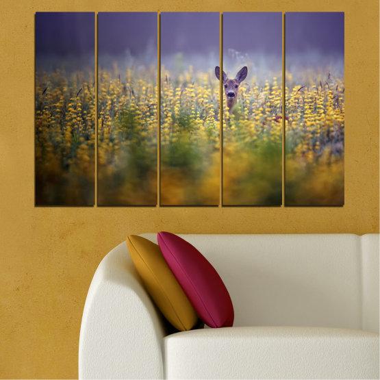Canvas prints & wall decorative panels - 5 pieces №0206 » Purple, Green, Yellow, Brown, Gray, Dark grey » Animal, Meadow, Roe Form #2