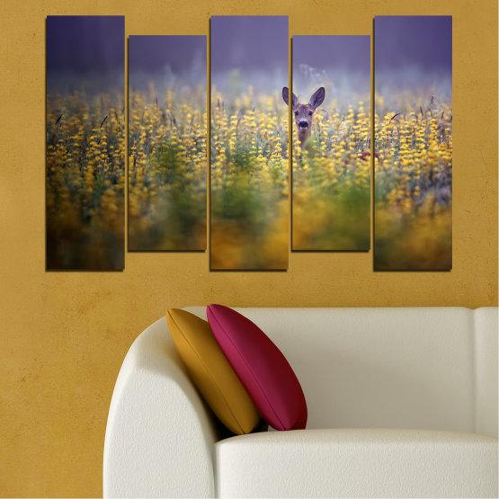Canvas prints & wall decorative panels - 5 pieces №0206 » Purple, Green, Yellow, Brown, Gray, Dark grey » Animal, Meadow, Roe Form #3