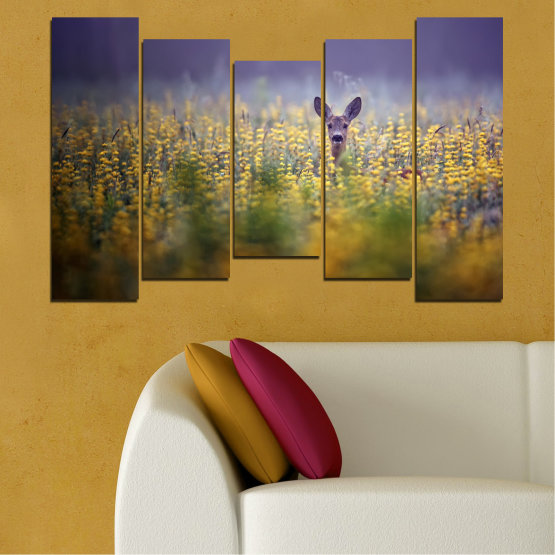 Canvas prints & wall decorative panels - 5 pieces №0206 » Purple, Green, Yellow, Brown, Gray, Dark grey » Animal, Meadow, Roe Form #4