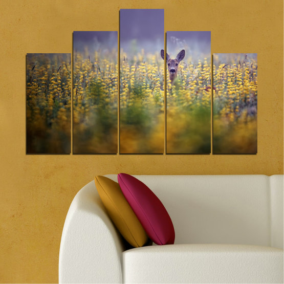 Canvas prints & wall decorative panels - 5 pieces №0206 » Purple, Green, Yellow, Brown, Gray, Dark grey » Animal, Meadow, Roe Form #5