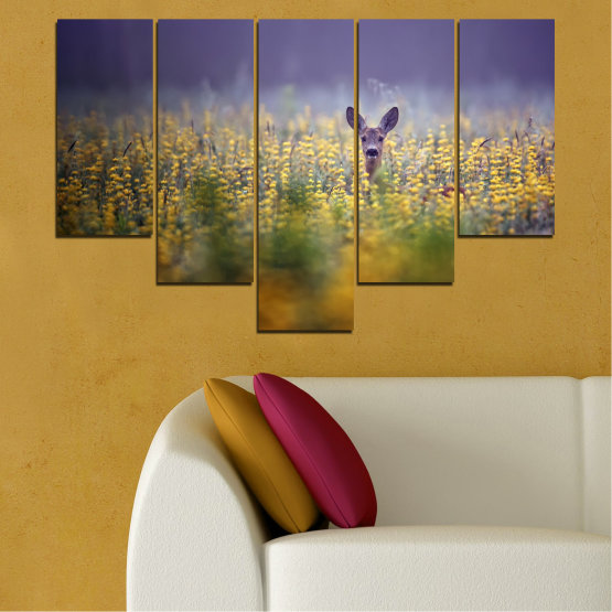 Canvas prints & wall decorative panels - 5 pieces №0206 » Purple, Green, Yellow, Brown, Gray, Dark grey » Animal, Meadow, Roe Form #6