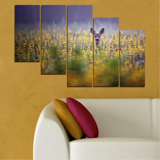 Canvas prints & wall decorative panels - 5 pieces №0206 » Purple, Green, Yellow, Brown, Gray, Dark grey » Animal, Meadow, Roe Form #7
