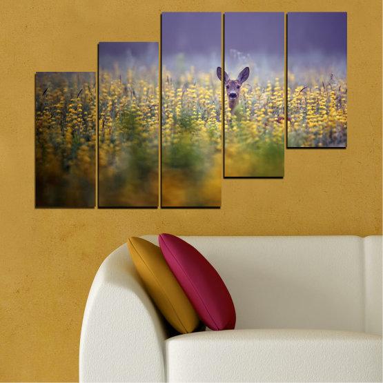 Canvas prints & wall decorative panels - 5 pieces №0206 » Purple, Green, Yellow, Brown, Gray, Dark grey » Animal, Meadow, Roe Form #8