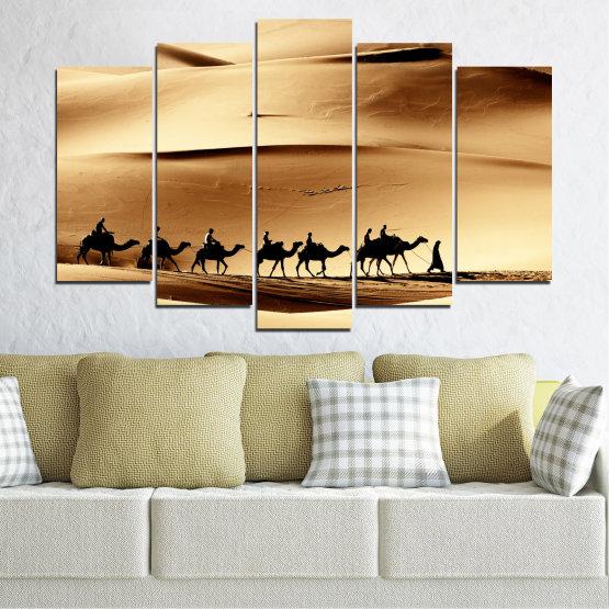 Декоративни панели и картини от канава - от 5 части №0208 » Оранжев, Кафяв, Черен, Бежов » Пясък, Пустиня, Камила Form #1