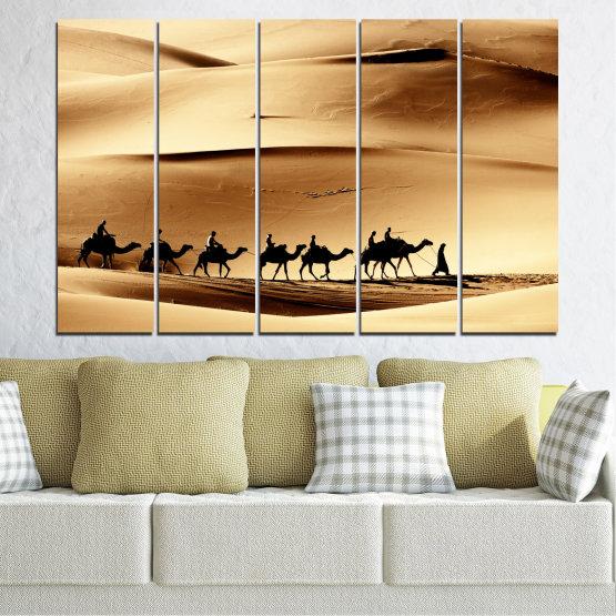 Декоративни панели и картини от канава - от 5 части №0208 » Оранжев, Кафяв, Черен, Бежов » Пясък, Пустиня, Камила Form #2