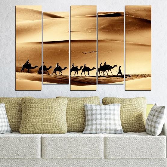 Декоративни панели и картини от канава - от 5 части №0208 » Оранжев, Кафяв, Черен, Бежов » Пясък, Пустиня, Камила Form #3