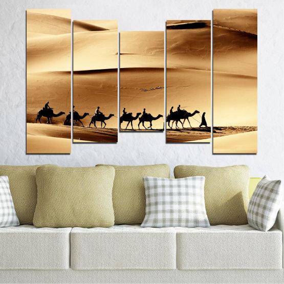 Декоративни панели и картини от канава - от 5 части №0208 » Оранжев, Кафяв, Черен, Бежов » Пясък, Пустиня, Камила Form #4