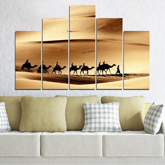 Декоративни панели и картини от канава - от 5 части №0208 » Оранжев, Кафяв, Черен, Бежов » Пясък, Пустиня, Камила Form #5