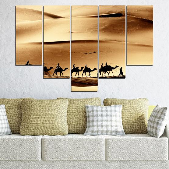 Декоративни панели и картини от канава - от 5 части №0208 » Оранжев, Кафяв, Черен, Бежов » Пясък, Пустиня, Камила Form #6
