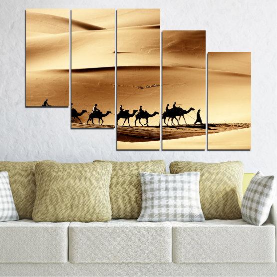 Декоративни панели и картини от канава - от 5 части №0208 » Оранжев, Кафяв, Черен, Бежов » Пясък, Пустиня, Камила Form #7