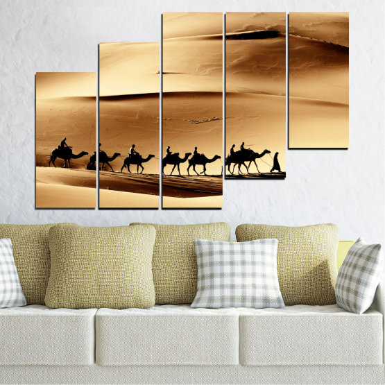 Декоративни панели и картини от канава - от 5 части №0208 » Оранжев, Кафяв, Черен, Бежов » Пясък, Пустиня, Камила Form #8