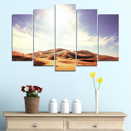 Canvas prints & wall decorative panels - 5 pieces №0209 » Orange, Brown, Gray, White » Sun, Sand, Desert Form #1