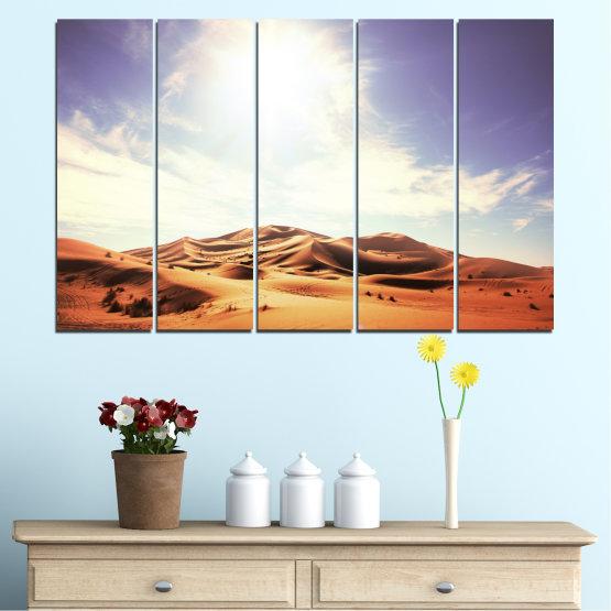 Canvas prints & wall decorative panels - 5 pieces №0209 » Orange, Brown, Gray, White » Sun, Sand, Desert Form #2