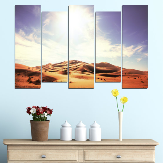 Canvas prints & wall decorative panels - 5 pieces №0209 » Orange, Brown, Gray, White » Sun, Sand, Desert Form #3