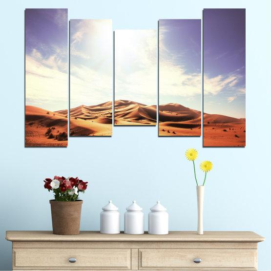 Canvas prints & wall decorative panels - 5 pieces №0209 » Orange, Brown, Gray, White » Sun, Sand, Desert Form #4