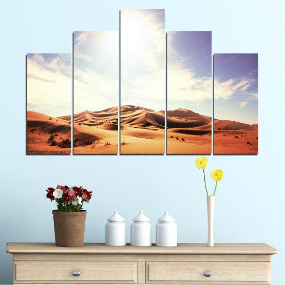 Canvas prints & wall decorative panels - 5 pieces №0209 » Orange, Brown, Gray, White » Sun, Sand, Desert Form #5