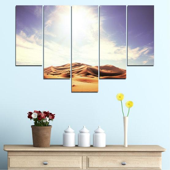 Canvas prints & wall decorative panels - 5 pieces №0209 » Orange, Brown, Gray, White » Sun, Sand, Desert Form #6