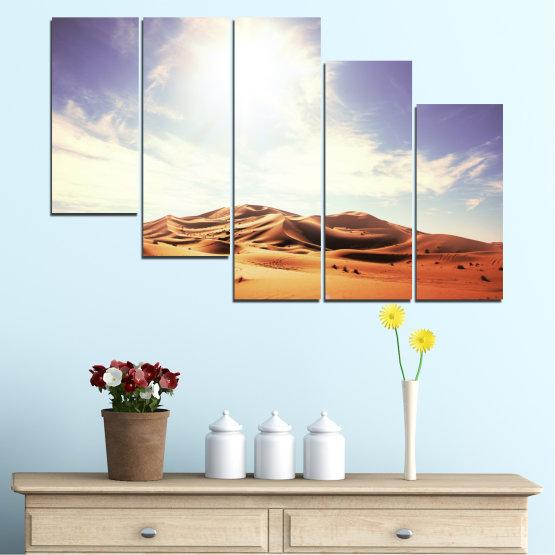 Canvas prints & wall decorative panels - 5 pieces №0209 » Orange, Brown, Gray, White » Sun, Sand, Desert Form #7