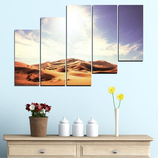 Canvas prints & wall decorative panels - 5 pieces №0209 » Orange, Brown, Gray, White » Sun, Sand, Desert Form #8
