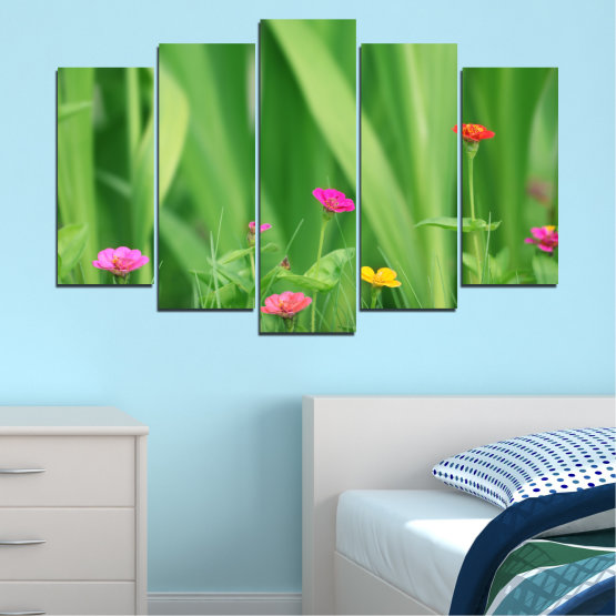 Canvas prints & wall decorative panels - 5 pieces №0210 » Green, Gray » Flowers, Nature, Meadow Form #1