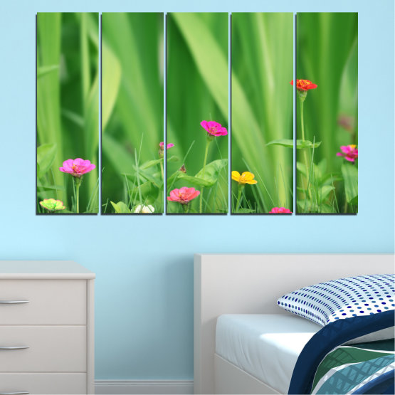 Canvas prints & wall decorative panels - 5 pieces №0210 » Green, Gray » Flowers, Nature, Meadow Form #2