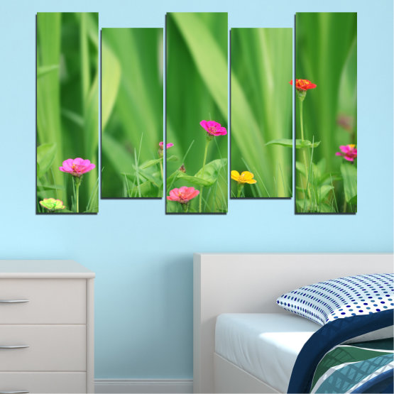 Canvas prints & wall decorative panels - 5 pieces №0210 » Green, Gray » Flowers, Nature, Meadow Form #3
